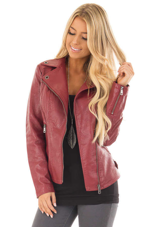 Deep Red Faux Leather Moto Jacket with Asymmetrical Zipper front close up