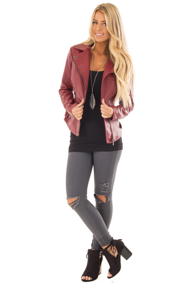 Deep Red Faux Leather Moto Jacket with Asymmetrical Zipper front full body