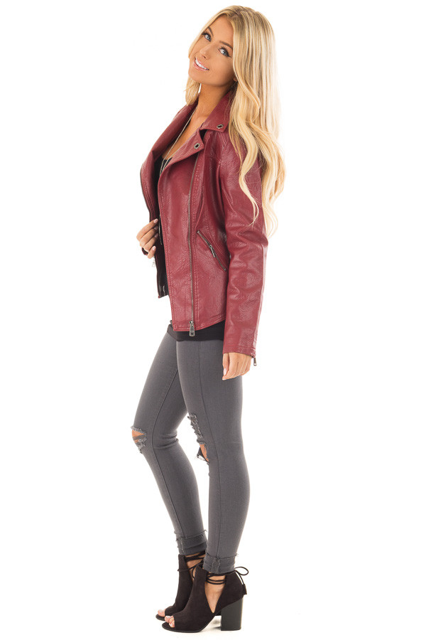 Deep Red Faux Leather Moto Jacket with Asymmetrical Zipper side full body