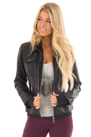 Black Faux Leather Layered Moto Jacket with Hood front close up