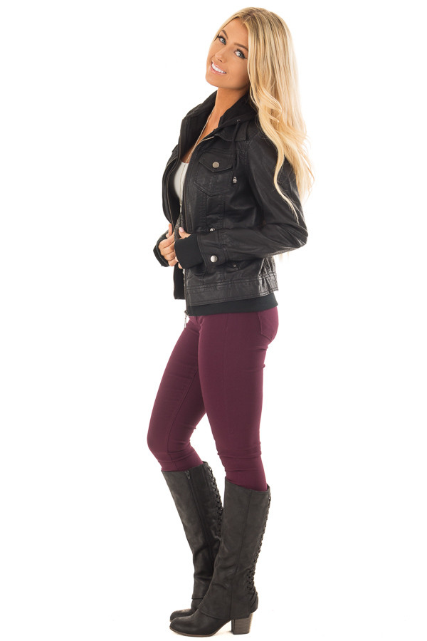 Black Faux Leather Layered Moto Jacket with Hood side full body