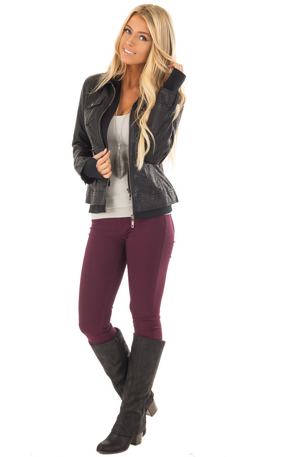 Black Faux Leather Layered Moto Jacket with Hood front full body