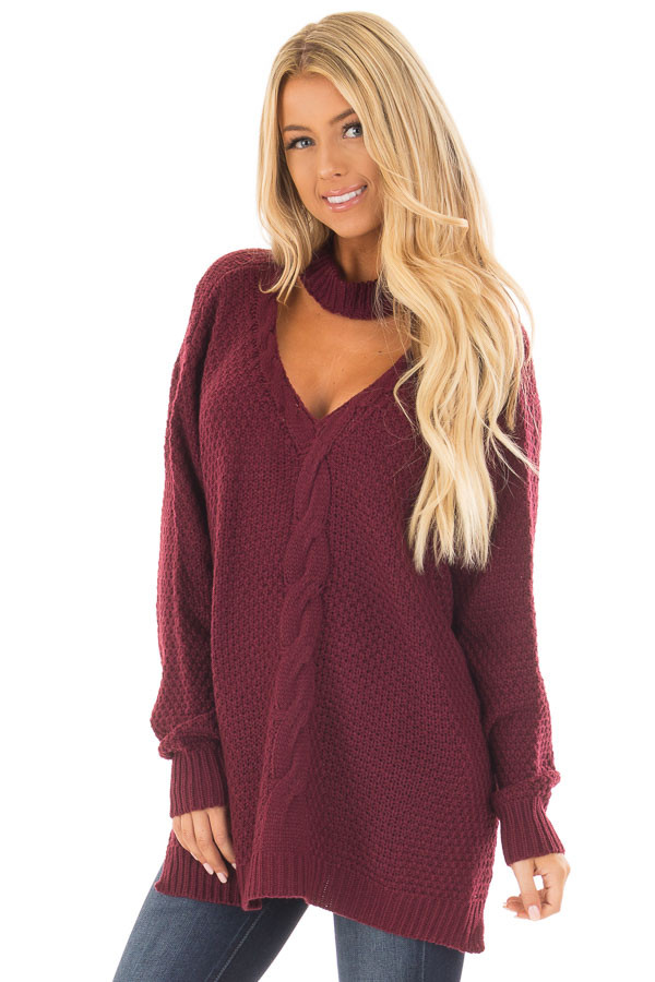 Burgundy Cable Knit V Neck Sweater with Choker Band front close up