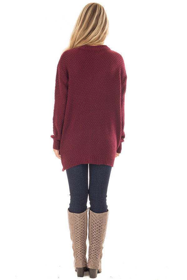 Burgundy Cable Knit V Neck Sweater with Choker Band back full body