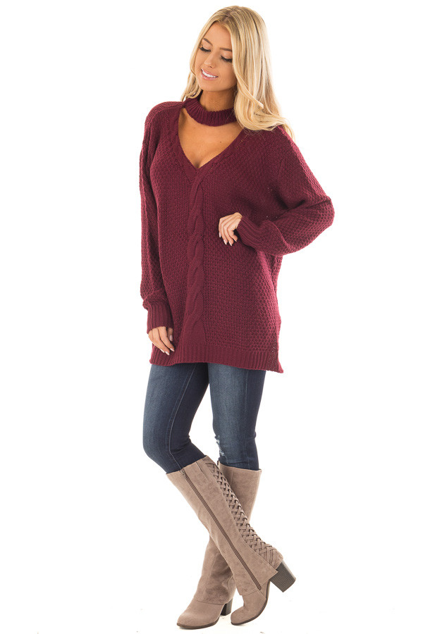 Burgundy Cable Knit V Neck Sweater with Choker Band front full body