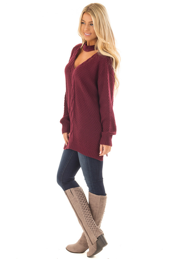 Burgundy Cable Knit V Neck Sweater with Choker Band side full body