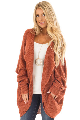 Rust Knit Cardigan with Dolman Sleeves and Pockets front close up