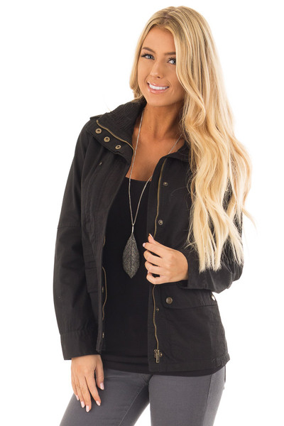 Black Lightweight Military Jacket with Drawstring Waist front close up