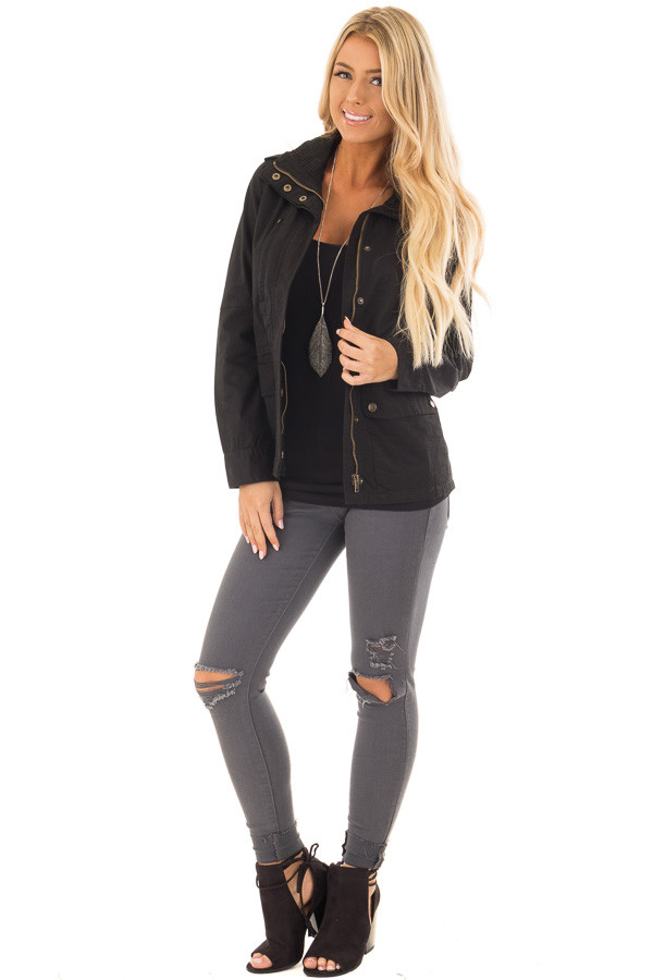 Black Lightweight Military Jacket with Drawstring Waist front full body