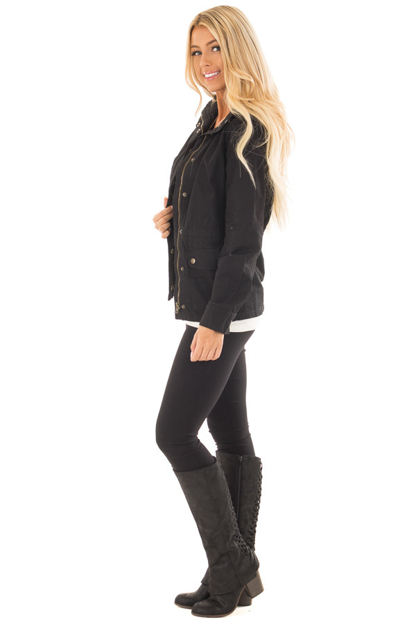 Black Lightweight Military Jacket with Drawstring Waist side full body