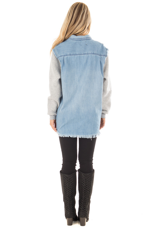 Denim Distressed Jacket with Contrasted Sleeves back full body