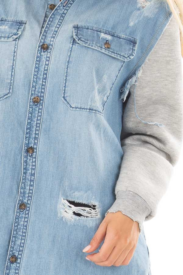 Denim Distressed Jacket with Contrasted Sleeves detail