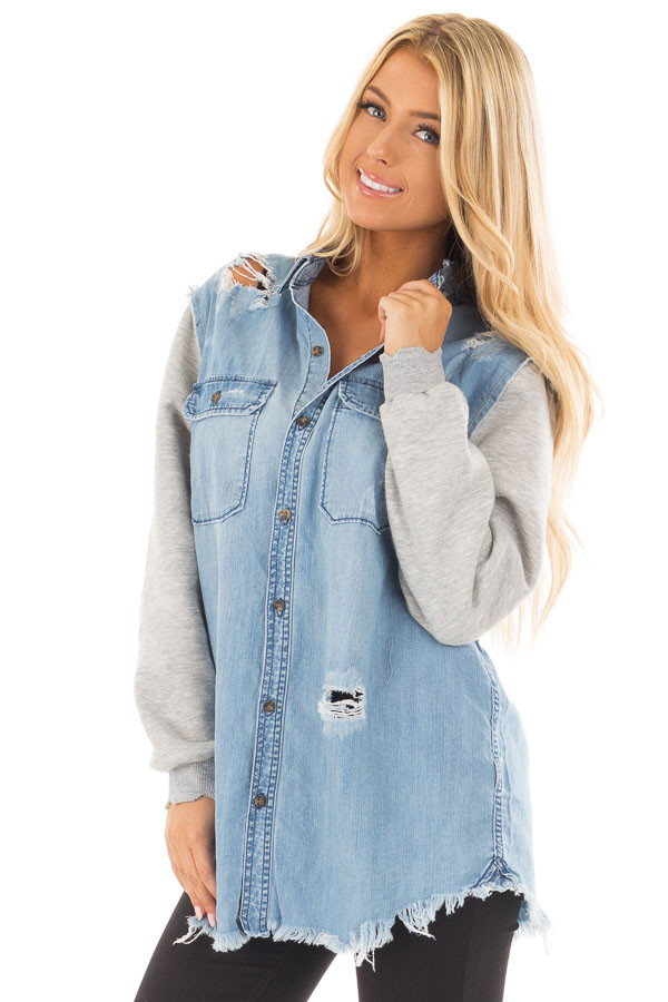 Denim Distressed Jacket with Contrasted Sleeves front close up