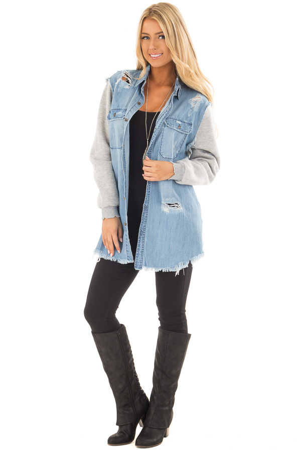 Denim Distressed Jacket with Contrasted Sleeves front full body
