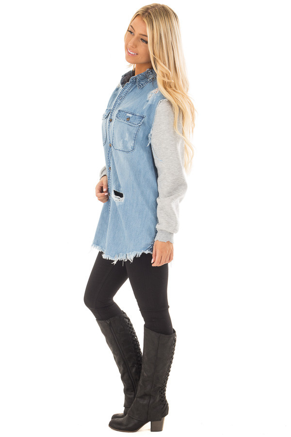 Denim Distressed Jacket with Contrasted Sleeves side full body