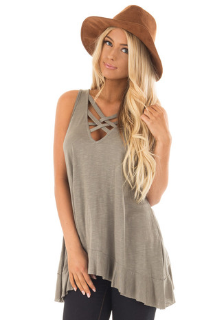 Olive Peplum Tunic Tank with Caged Neckline front close up