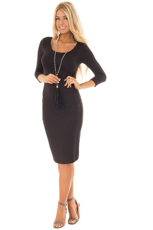 Black 3/4 Sleeve Bodycon Midi Dress front full body