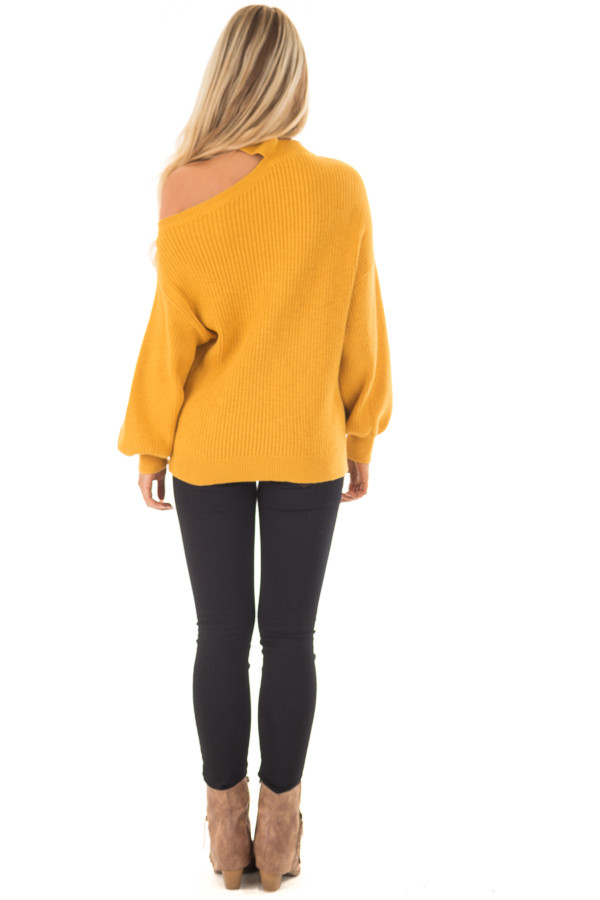 Mustard Bare Shoulder Knit Sweater with Mock Neck Band back full body