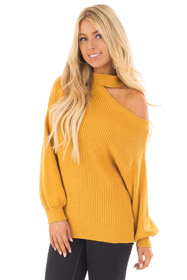 Mustard Bare Shoulder Knit Sweater with Mock Neck Band front close up
