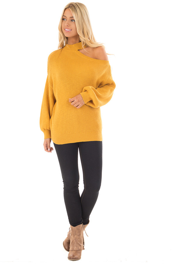 Mustard Bare Shoulder Knit Sweater with Mock Neck Band front full body