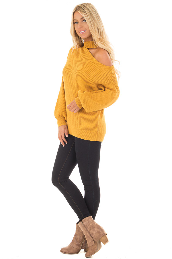 Mustard Bare Shoulder Knit Sweater with Mock Neck Band side full body
