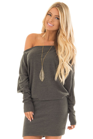 Olive Knit Long Sleeve Dress with Fitted Bottom front close up