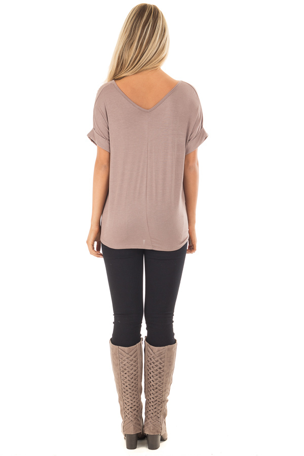 Khaki Comfy Tee with Front Tie Detail back full body