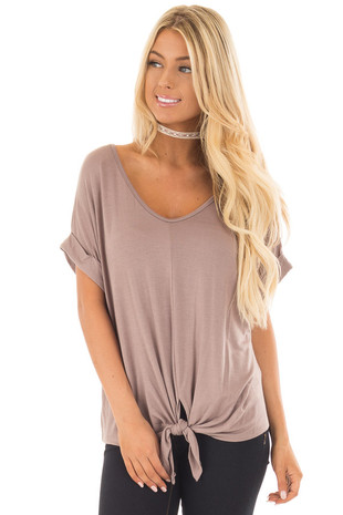 Khaki Comfy Tee with Front Tie Detail front close up