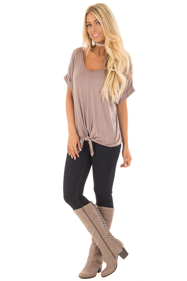 Khaki Comfy Tee with Front Tie Detail front full body