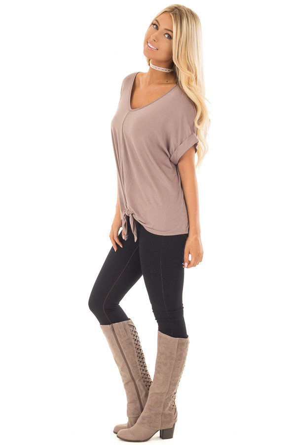 Khaki Comfy Tee with Front Tie Detail side full body