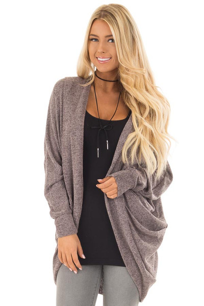 Chocolate Two Tone Knit Cardigan with Pockets and Hood front close up