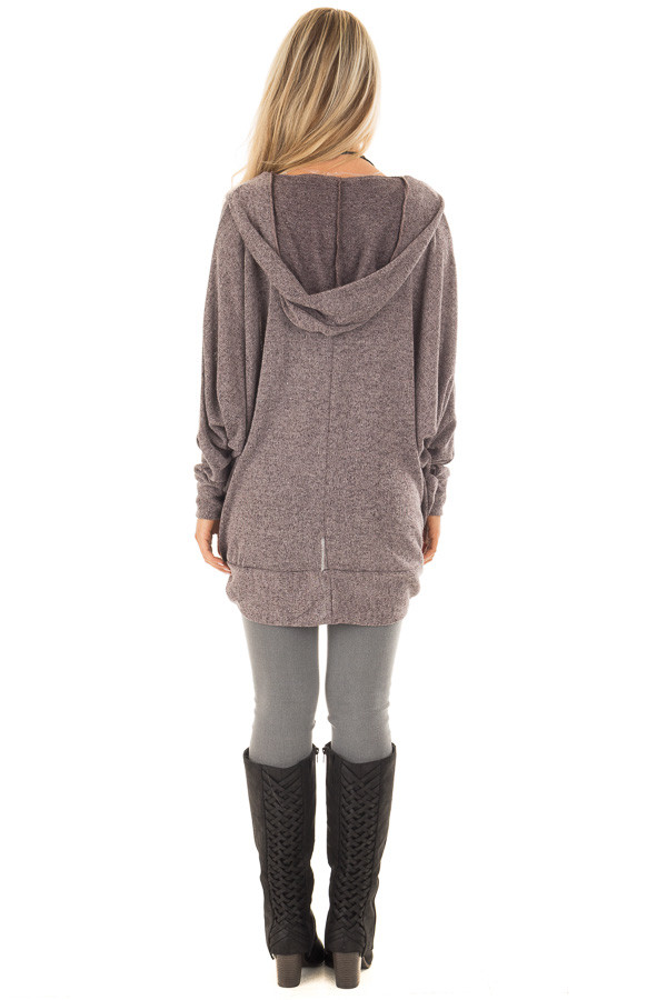 Chocolate Two Tone Knit Cardigan with Pockets and Hood back full body