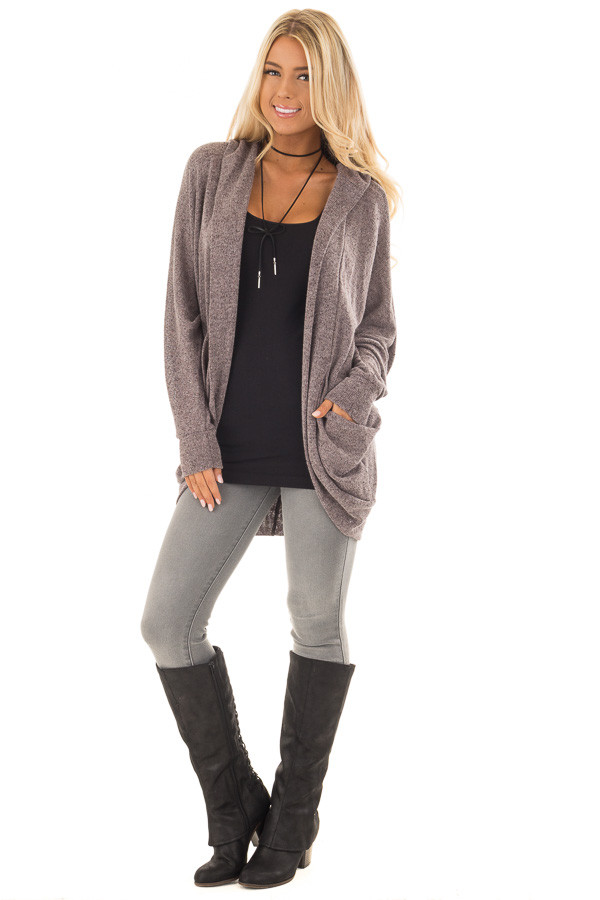 Chocolate Two Tone Knit Cardigan with Pockets and Hood front full body