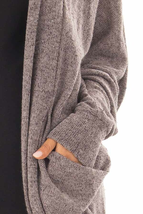 Chocolate Two Tone Knit Cardigan with Pockets and Hood detail