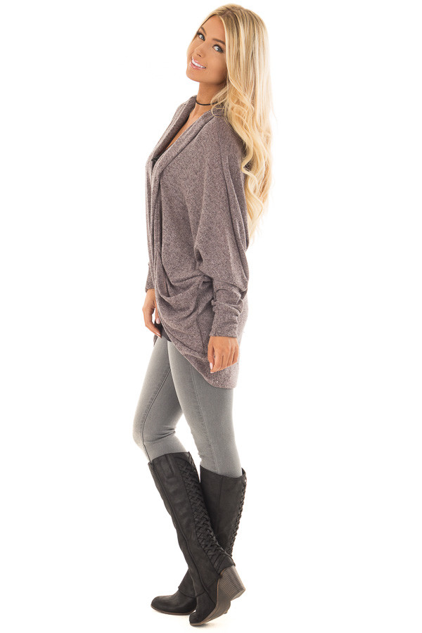 Chocolate Two Tone Knit Cardigan with Pockets and Hood side full body