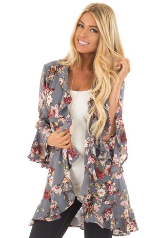 Steel Grey Floral Print Kimono with Ruffled Details front close up
