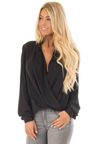 Black Deep V Neck Crossover Long Sleeve Blouse front close up