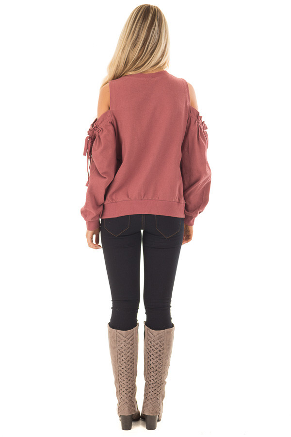 Brick Red Sweater with Ruffle Tie Detailed Cold Shoulders - Lime ...