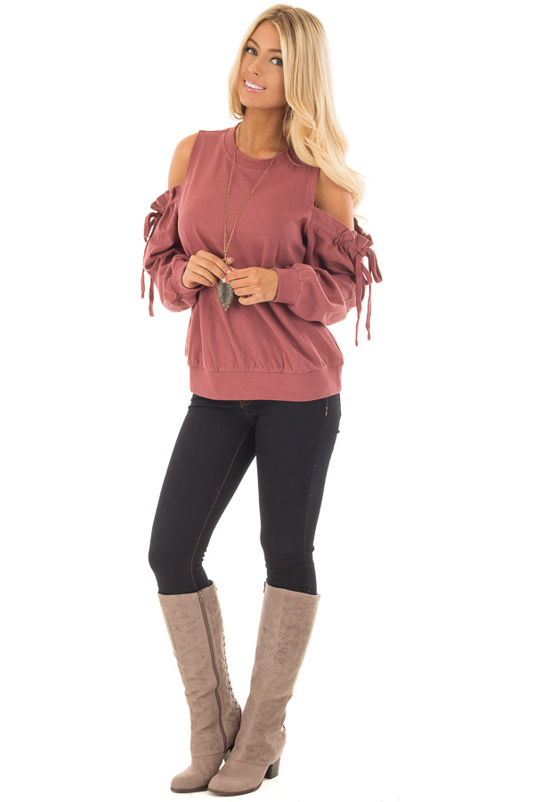 Brick Red Sweater with Ruffle Tie Detailed Cold Shoulders front full body