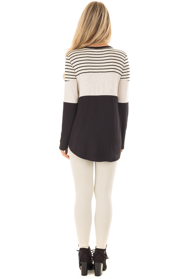 Black and Oatmeal Color Block Top with Striped Contrast back full body