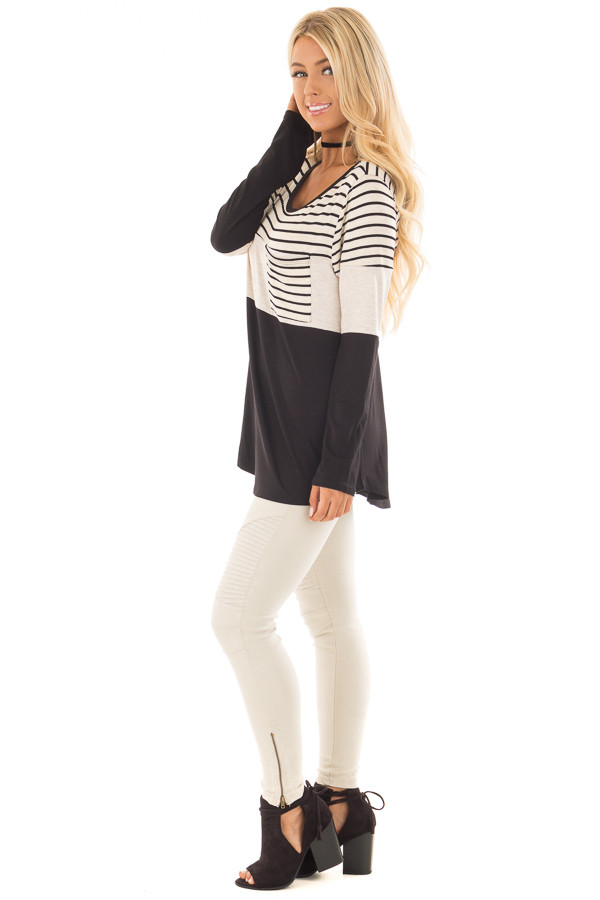 Black and Oatmeal Color Block Top with Striped Contrast side full body