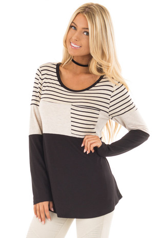 Black and Oatmeal Color Block Top with Striped Contrast front close up