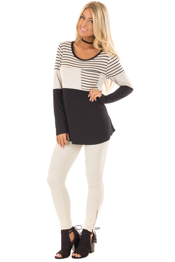 Black and Oatmeal Color Block Top with Striped Contrast front full body