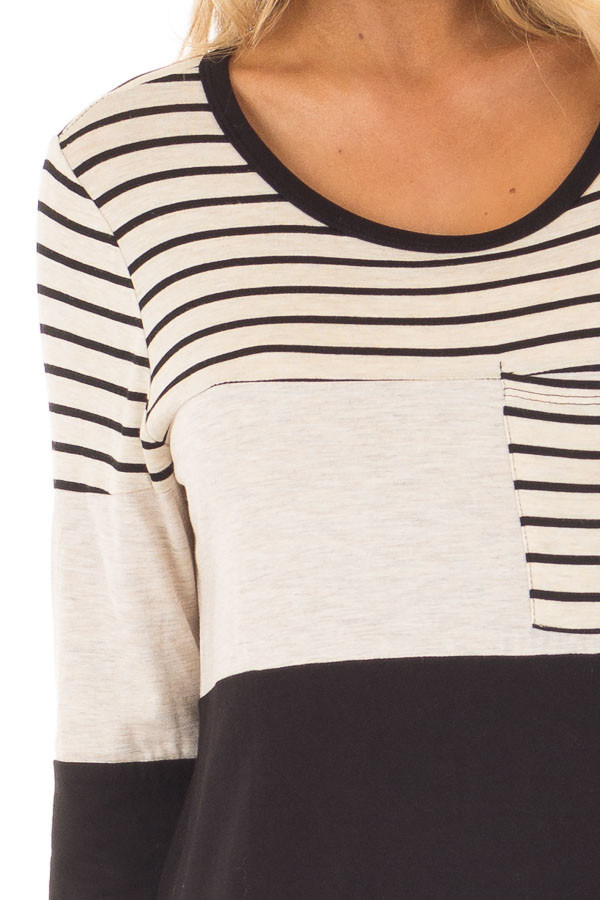 Black and Oatmeal Color Block Top with Striped Contrast detail