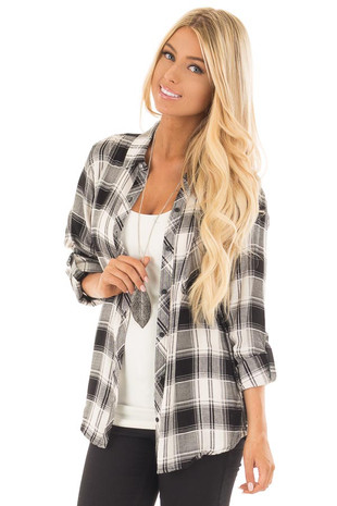 Black and White Plaid Knit Button Down Shirt front close up