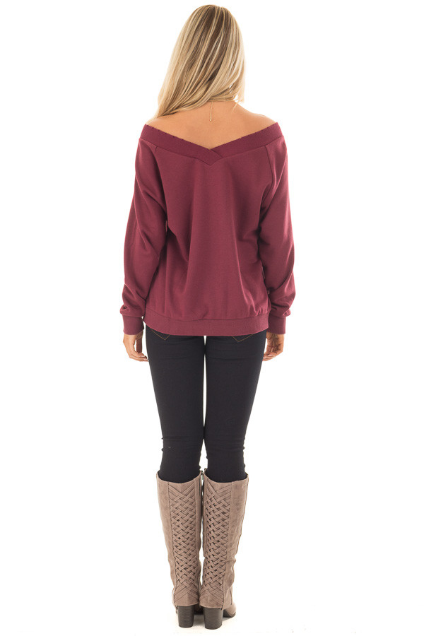 Burgundy Off the Shoulder Lightly Distressed Sweater back full body