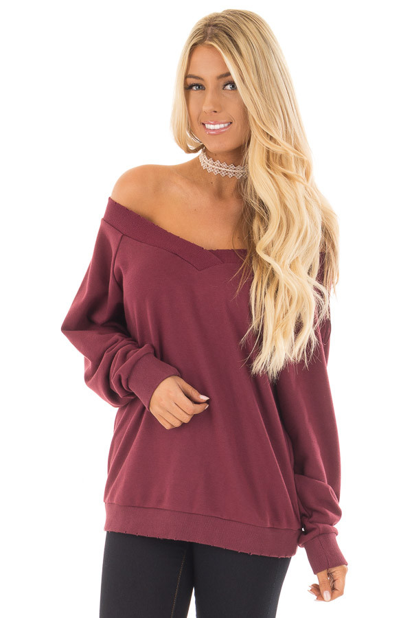 Burgundy Off the Shoulder Lightly Distressed Sweater front close up