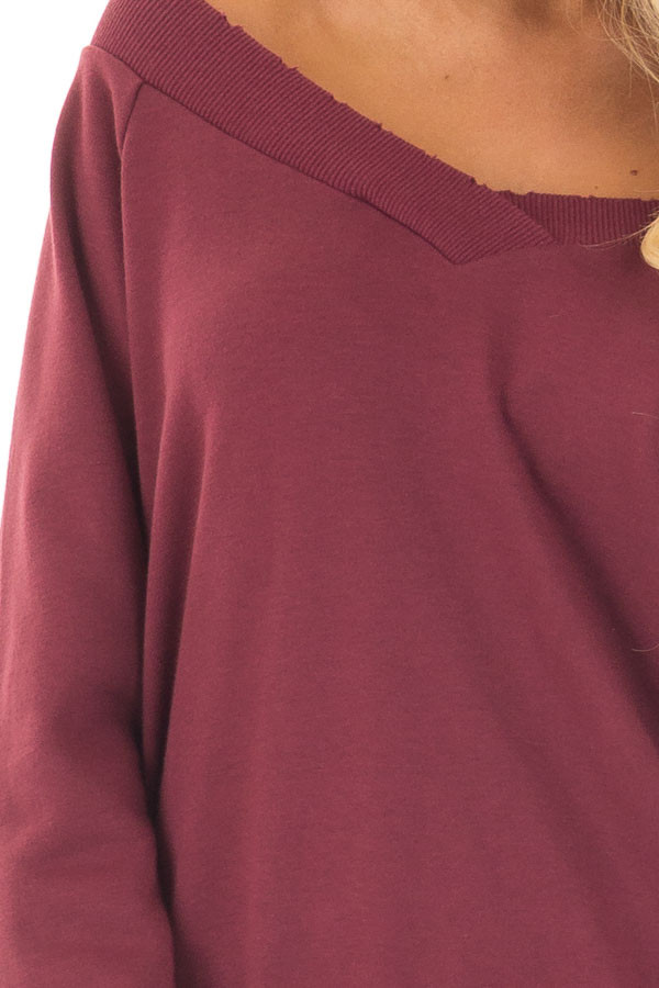 Burgundy Off the Shoulder Lightly Distressed Sweater detail