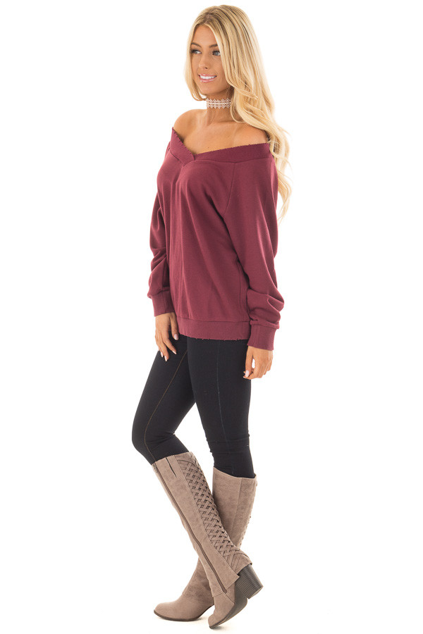 Burgundy Off the Shoulder Lightly Distressed Sweater side full body