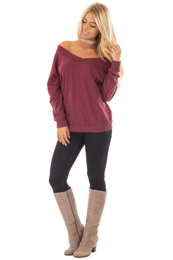 Burgundy Off the Shoulder Lightly Distressed Sweater front full body